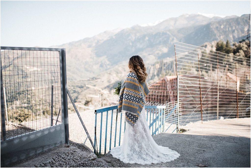 Bride overlooking Cretes White mountains